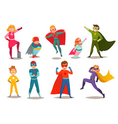 Kids superheroes retro set vector