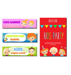 Kids theme banners flyers for children school vector