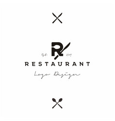 letter r with spoon and knife for restaurant logo vector image