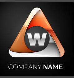 letter w logo symbol in the colorful triangle on vector image