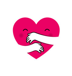 love yourself heart hug vector image