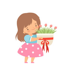 Lovely little girl with bouquet flowers cartoon vector