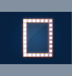 Makeup mirror isolated with gold lights vector