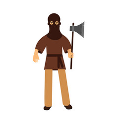 medieval executioner character standing with ax vector image