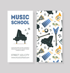 Music school business card template with musical vector