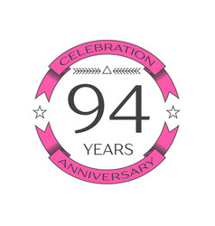 ninety four years anniversary celebration logo vector image