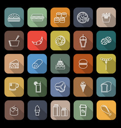 popular food line flat icons with long shadow vector image