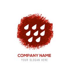 Rain icon - red watercolor circle splash vector