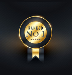 ranked no1 golden label with ribbon vector image