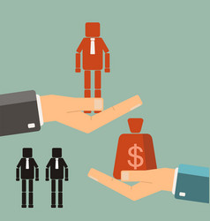 Recruitment concept businessman buying worker vector