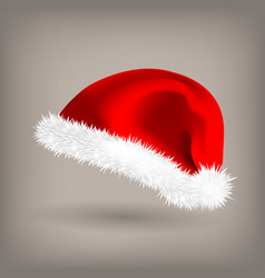 red santa hat snow clothing celebration vector image