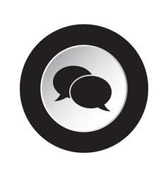 round black and white button - speech bubbles icon vector image