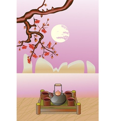 Sakura Tea ceremony Menu vector