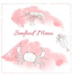 Seafood hand drawn sketch of crab and shrimp vector