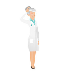 Senior caucasian doctor scratching her head vector
