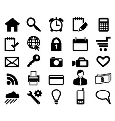 Set icons for web design black color vector vector