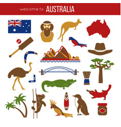 Set of australia culture symbols collection icons vector