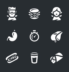 Set of fast eating icons vector