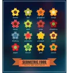 set of geometric food vector image