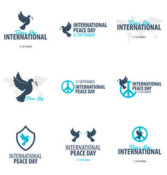 set of international peace day logos or emblems vector image