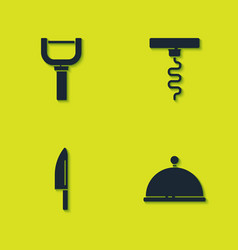 Set peeler covered with tray knife and wine vector