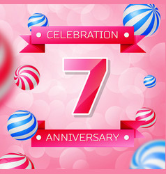 seven years anniversary celebration design banner vector image