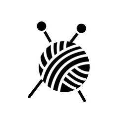 Sewing - ball of yarn - knitting needles icon vector