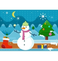 Snowman in Green Hat and Pink Scarf Wonderland vector