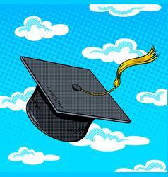 Square academic cap pop art vector