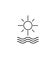 sun and waves line icon vector image