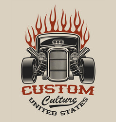 t-shirt design with a hot rod vector image
