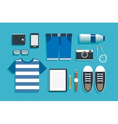 Teenage travel accessories flat design vector
