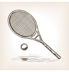 Tennis hand drawn sketch style vector image