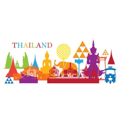 Thailand Landmark Colorful Shapes vector