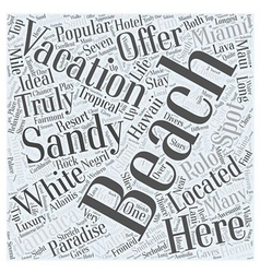 Top Beach Vacation Spots Word Cloud Concept vector
