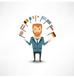 translator with flags vector image
