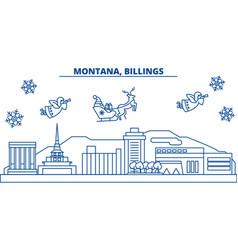 Usa montana billings winter city skyline merry vector
