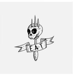 vintage hand drawn fork and skull logo poison food vector image
