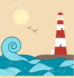 Vitage poster with lighthouse vector