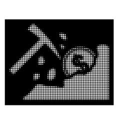 White halftone dollar mining hammer icon vector