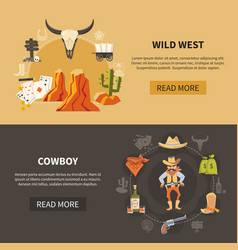 Wild west horizontal banners vector