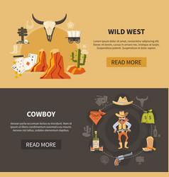 wild west horizontal banners vector image