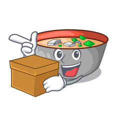 with box asian soup cup isolated on mascot vector image
