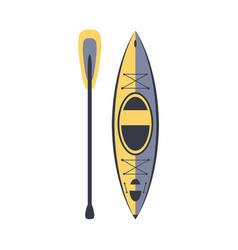 Yellow and blue kayak and peddle part boat and vector