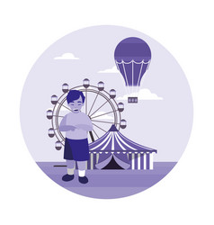 young boy in the circus amusement vector image