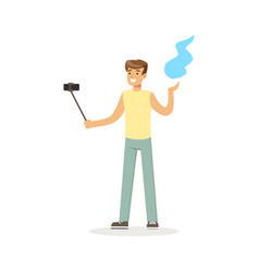 Young man in casual clothes making selfie with a vector