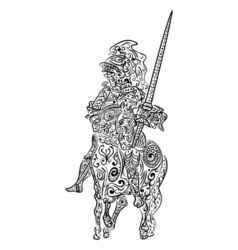 Zentangle stylized ink sketch of a knight on the vector