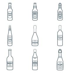 dark outline alcohol bottles icons set vector image vector image