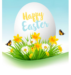 Easter holiday background colofrul eggs in green vector