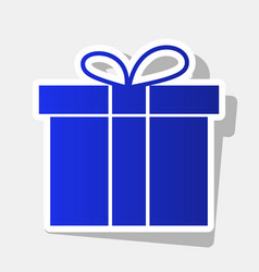 gift box sign new year bluish icon with vector image vector image